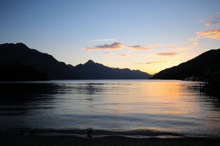 Picture of the view of sunset at Lake Wakatipu, Queenstown, New Zealand  photo