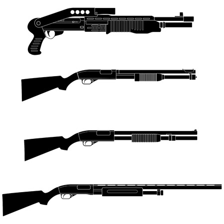 Layered vector illustration of different Shotguns. Illustration