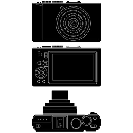len: Layered vector illustration of Camera silhouette with white background.