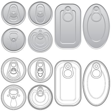 tarro cerveza: Ilustración vectorial en capas de diferentes Latas con vista superior.