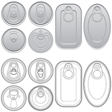 aluminum can: Layered vector illustration of different Cans with top view.