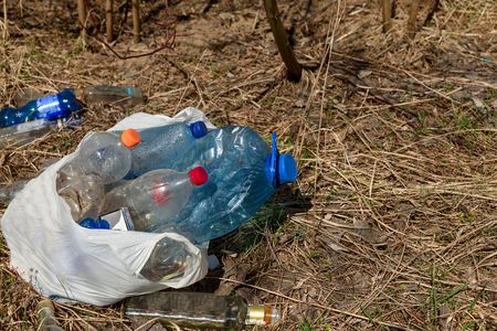 Waste plastic and glass bottles, packages and other types of waste at illegal landfill in park. Environment pollution concept Banco de Imagens