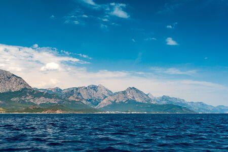 Sea view on coast and Taurus Mountains near Kemer, Turkey.