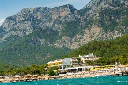 Sea view on coast, resorts and Taurus Mountains near Kemer, Turkey.