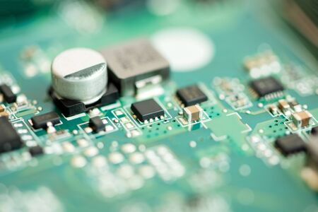 Close-up electronic circuit board.