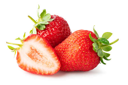 Three ripe strawberry fruits isolated on white background.