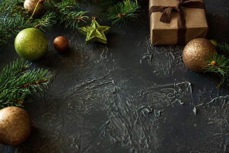 Christmas background with decorations and gift boxes on concrete table. Top view. Copy space. Merry christmas and happy new year celebration concept. Mock-up Stock fotó