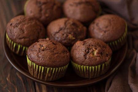 Close-up chocolate banana muffins. Selective focus Stock fotó