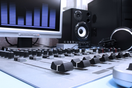 audio: A control panel in a radio studio