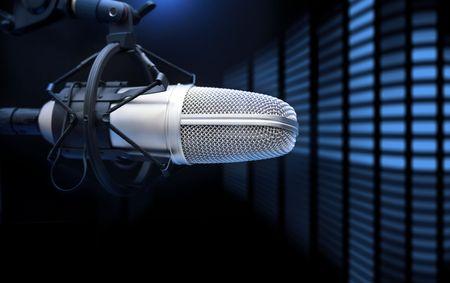 casting: Ein Mikrofon vor dem Sound Analyzer  Music Concept Lizenzfreie Bilder
