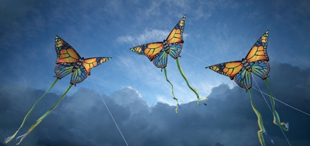Three colorful kites at cloudy sky photo