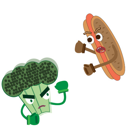 broccoli vs hot dog healthy food vs fast food fight for healthy lifestyle