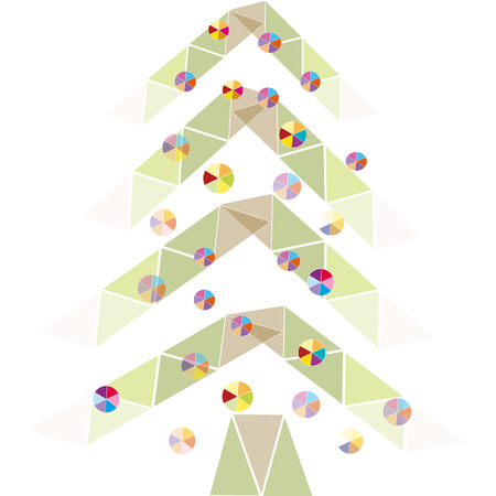 Christmas holiday colored geometric Christmas tree transparent in bright balls