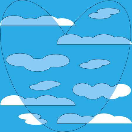 cloud heart pattern background blue symbol flat Ilustrace