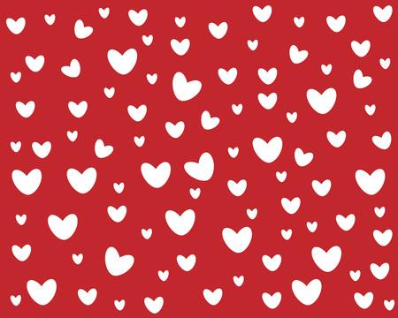 cuori carini simmetrici su sfondo rosso cartone animato Vettoriali