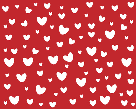 symmetrical cute hearts on red cartoon background Vector Illustration