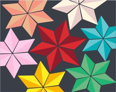 seven bright colored stars on a dark gray background