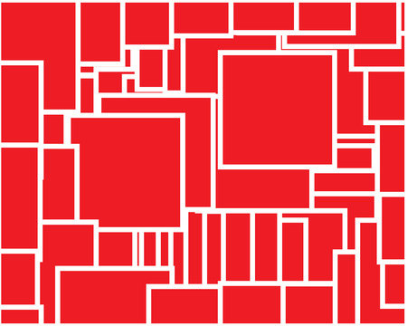 a set of chaotic red squares of different sizes with a white outline