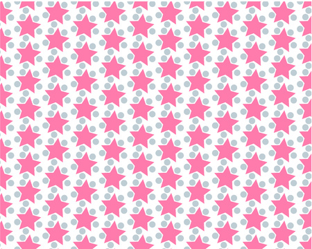 Abstract background with pink stars. pattern with pink textured stars with gray balls on white background,abstract