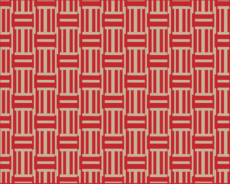 The ornament is made of red and white lines. Symmetrical layout. Gift wrapping paper. Bed linen and interior. Illustration