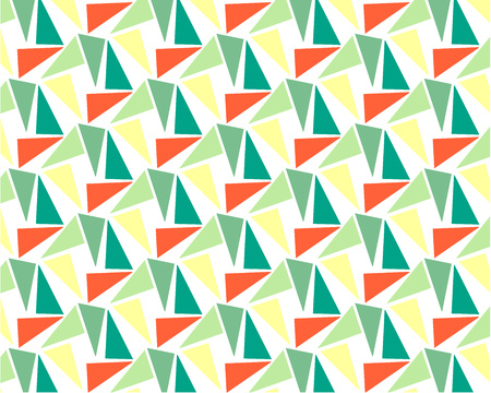 abstract background Memphis style green blue yellow orange triangles, repeating pattern for design, on wall, screensaver, print, textile Иллюстрация