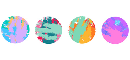 set frame color circles, Grunge brush vector hand drawn icon. Repeated irregular strokes with polka dots and a brush. Model trends drawn by hand. Grunge, sketch, watercolor, spray paint. Modern vector illustration Çizim