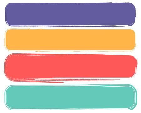 set cornice rettangolo rosso giallo verde lilla pennellata. Icona disegnata a mano di vettore della spazzola di lerciume. Tratti irregolari ripetuti con pois e un pennello. Tendenze del modello disegnate a mano. Grunge, schizzo, acquerello, vernice spray. Illustrazione vettoriale moderna
