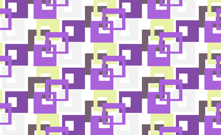 Modern stylish abstract geometric pattern with colourful bright strokes lilac yellow squares on a dark background. Vector illustration for fabric, Wallpaper, textile, wrapping paper and more. Stock fotó