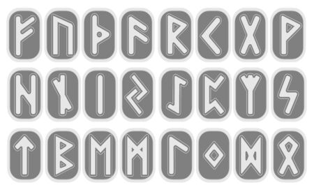Set of old Norse runes. Runic alphabet, Futhark. Ancient occult Viking characters letters on white background, rune font. Vector illustration, EPS 10 . Old Norse writing.