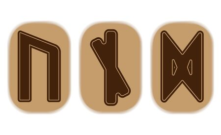 Runic combinations for application to protective amulets. Runes of beer. Protection from witchcraft. 스톡 콘텐츠