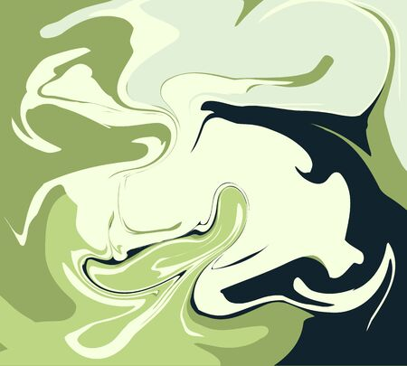 The Style Of Ebru. Green, dark and white colors. Hand drawn vector background. Fashionable print for textiles, fabrics, packaging, covers, screensavers.