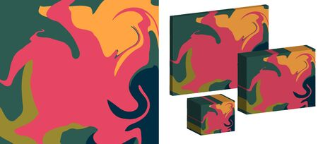 The Style Of Ebru. Green, orange and pink colors. Hand drawn vector background. Fashionable print for textiles, fabrics, packaging, covers, screensavers.