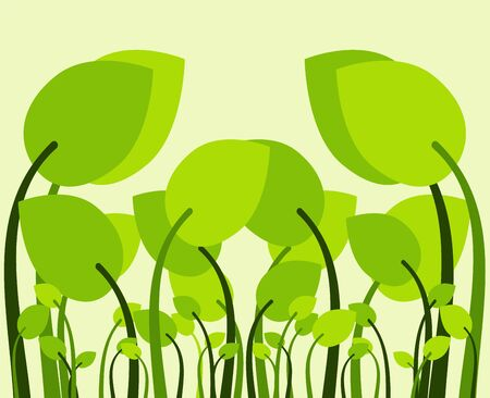Flat Park green pattern leaves trees background. Creative background from modern forms to the design of fashionable abstract works, banners, posters, booklets. Vektorové ilustrace