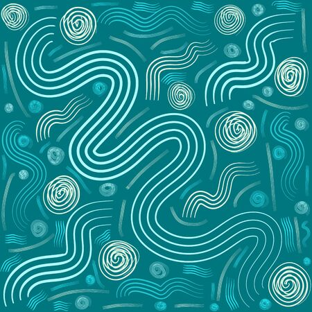 Bright green wavy lines, modern pattern background for leaflets, posters, business cards. Music, youth concerts, store sales. Print for textiles, hoodies, accessories.