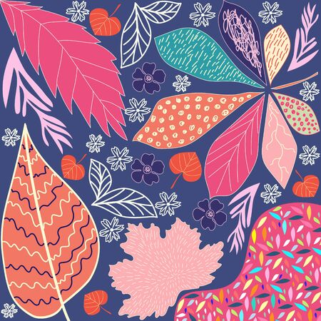 Funny autumn landscape with orange blue pink flowers and trees. Garden flower pattern with large scale wooden vine design with exotic flowers. Elegant pattern for fashionable prints. Illustration