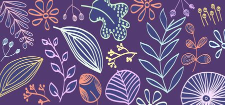 Abstract art header background with bright lines of circles and leaves. Silhouettes of plants. Graphic design. Hand drawn texture. Perfect for website, card, poster, cover, invitation, brochure. Vector. Ilustração Vetorial