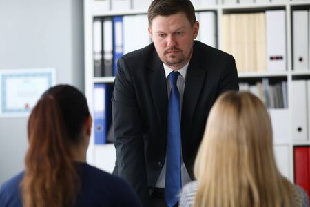 Concerned businessman in office