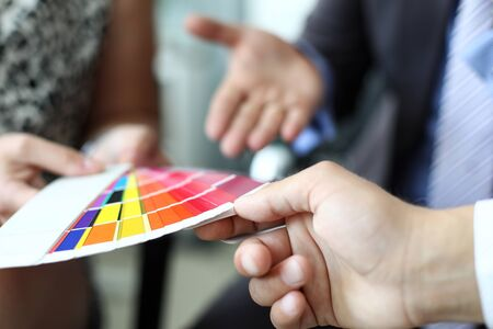 Multicolored designers palette Stock Photo