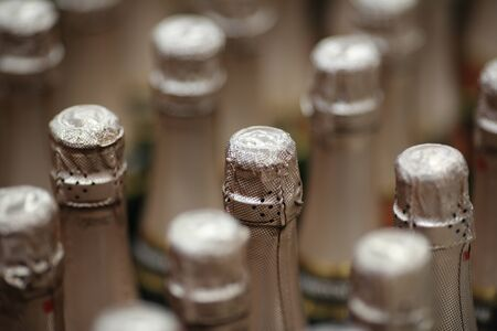 Closed champagne bottles