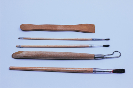 Collection of paintbrush of different size and form