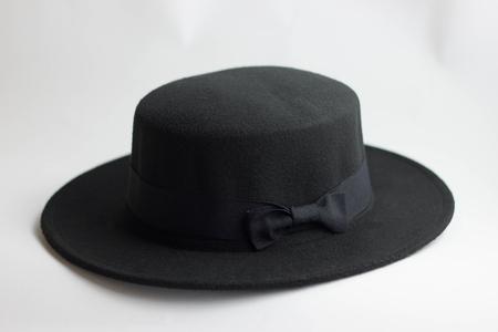Black female hat on a white background fashion