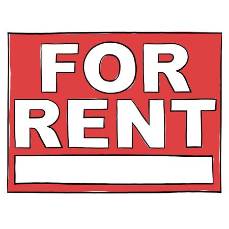 rent: Property For Rent Sign; For Rent Real Estate Sign Stock Photo