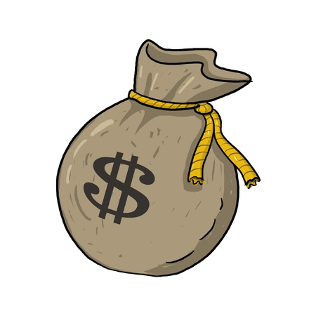 Sack of money with dollar sign illustration; Green sack of money drawing; Isolated money bag with dollar sign on it; sack of money with $ sign cartoon style illustration  Stock Photo