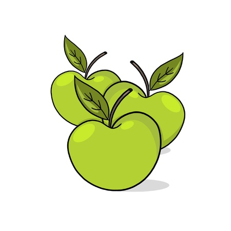 A Few green Apples; A Few Apples drawing; 3 fresh apples illustration