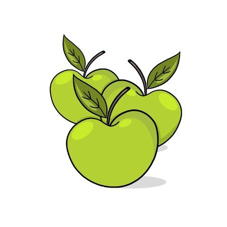 few: A Few green Apples; A Few Apples drawing; 3 fresh apples illustration