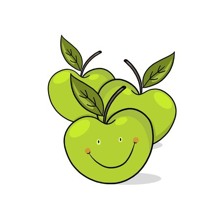 A Few Apples; A Few green Apples drawing; fresh apples illustration; cartoon style; smiling green apples