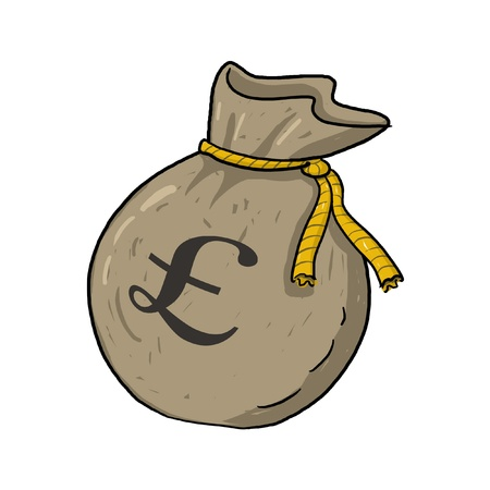 Sack of money with pound sterling sign illustration; Green sack of money drawing; Isolated money bag with pound sterling sign on it; sack of money with � sign cartoon style illustration