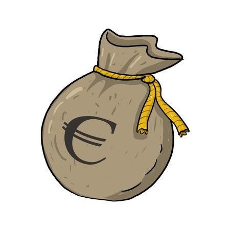 돈의 자루 그림 유로 기호로; 갈색 가방 유로 기호 돈을 가득 스톡 콘텐츠