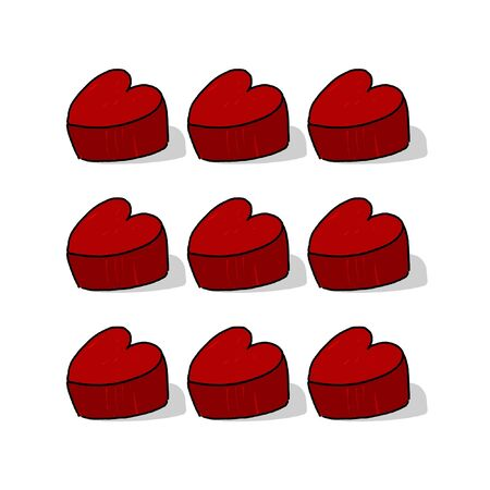 3D Heart shapes illustration; Red nine hearts; 9 3D heart freehand drawing