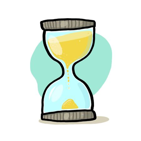 Hourglass illustration; Sand glass drawing; Time Stock Photo